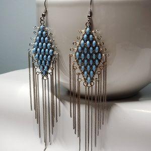 Diamond Shape Turquoise Beaded Earrings
